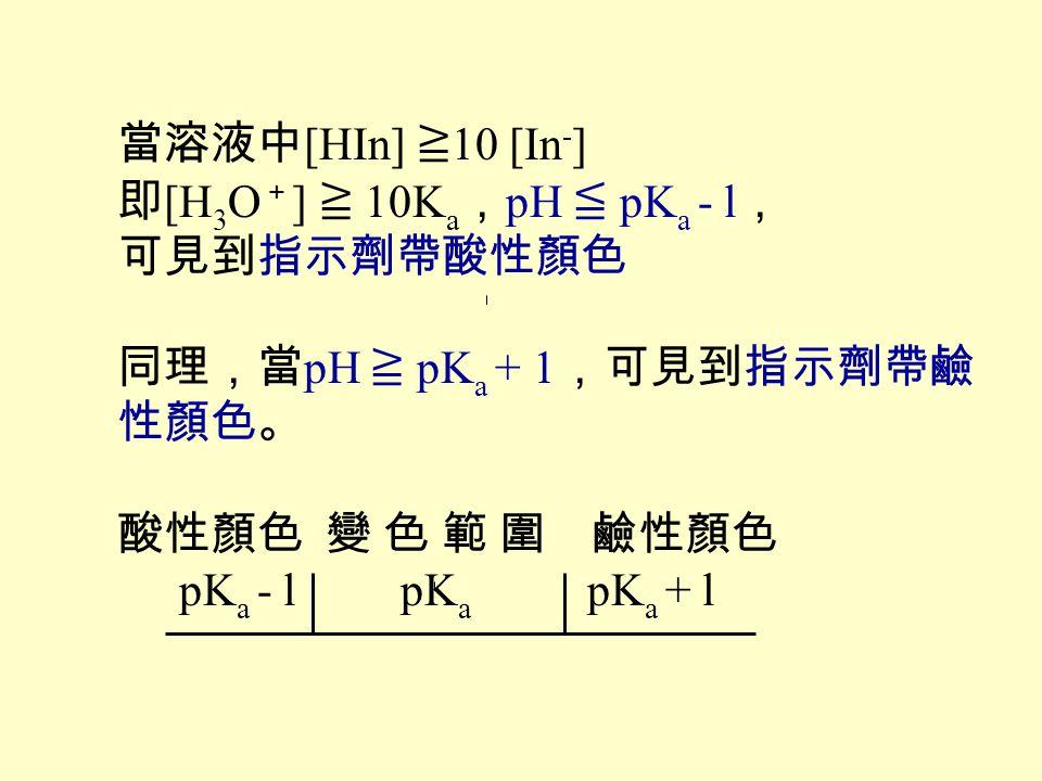 當溶液中[HIn] ≧10 [In-] 即[H3O+] ≧ 10Ka,pH ≦ pKa - l, 可見到指示劑帶酸性顏色